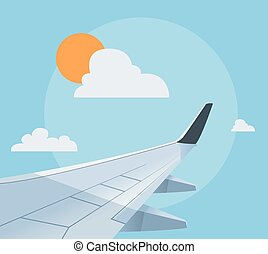 plano, avión, ilustración