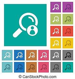 plano, búsqueda, cuadrado, coloreado, iconos, multi, miembro
