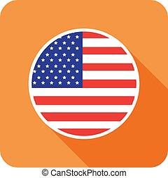 plano, bandera, estados unidos de américa, icono