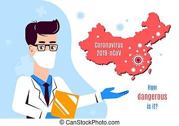 plano, banner., illustration., coronavirus, 2019-ncov, ...