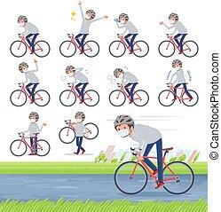 plano, bicicleta, gris, máscara, men_road, tipo, foodie