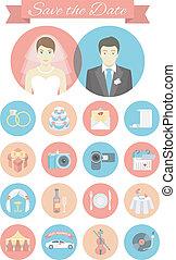 plano, boda, redondo, iconos