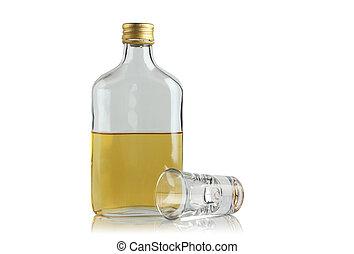plano, botella, con, bebida alcohólica, y, bebida