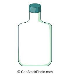plano, botella, icono, caricatura, estilo