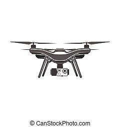 plano, cámara, digital, quadrocopter, zángano
