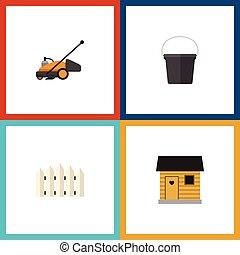 plano, césped, conjunto, elements., barrera, dacha, cubo, ...
