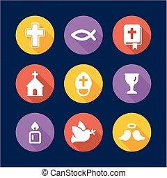 plano, círculo, cristianismo, diseño, iconos
