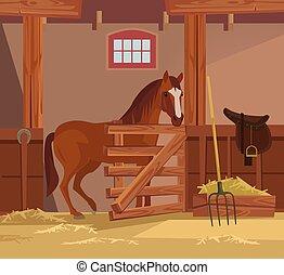 plano, caballo, ilustración, farm., vector, caricatura