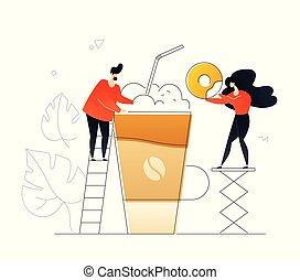 plano, café, colorido, postre, -, estilo, ilustración,...
