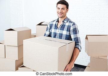 plano, cajas, proceso de llevar, hombre, nuevo, sonriente, ...
