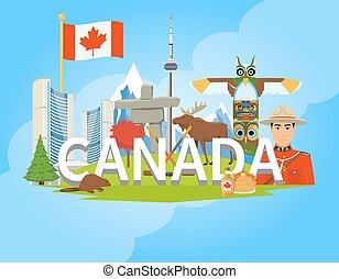 plano, canadiense, cartel, símbolos nacionales, composición