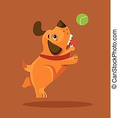 plano, carácter, perro, ilustración, juego, vector, sonriente, perrito, caricatura, ball., feliz