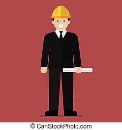 plano, caricatura, ingeniero