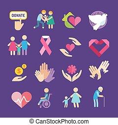 plano, caridad, conjunto, iconos