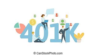 plano, cartas, caracteres, siglas, cuenta, text., ilustración, 401k, fondo., vector, pensión, blanco, retirement.