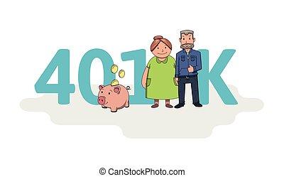 plano, cartas, coloreado, siglas, cuenta, text., ilustración, 401k, caracteres, vector, pensión, plano de fondo, blanco, retirement.
