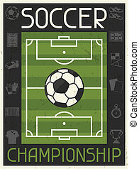 plano, cartel, championship., diseño, retro, futbol, style.