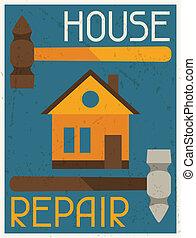 plano, cartel, diseño, retro, casa, repair., style.