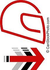 plano, casco, rojo, icono