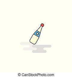 plano, celebración, bebida, icon., vector