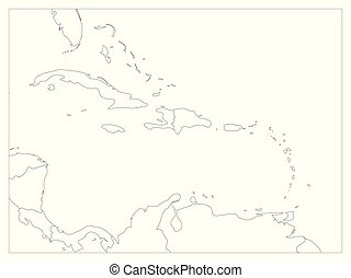 plano, central, contorno, simple, político, map., ilustración, estados, borders., vector, negro, carribean, américa