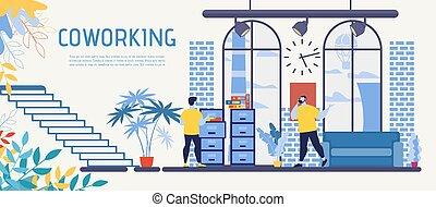 plano, centro, oficina, coworking, vector, bandera, anuncio