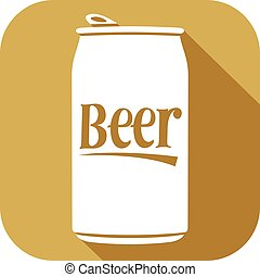 plano, cervezaenlatada, icono