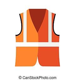 plano, chaleco, estilo, naranja, seguridad, icono