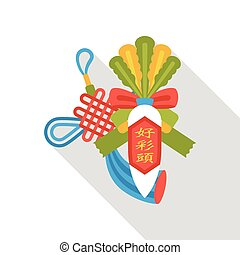 plano, chino, rábano, afortunado, año, nuevo, blanco, icono