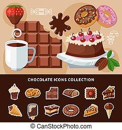 plano, chocolate, colección, iconos