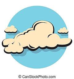 plano, circle.eps, nube, icono