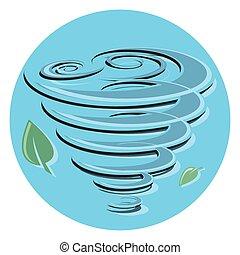 plano, circle.eps, viento, leafs, icono