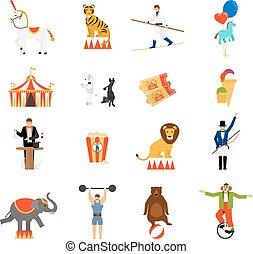 plano, circo, iconos