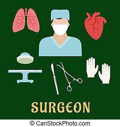 plano, cirujano, profesión, iconos