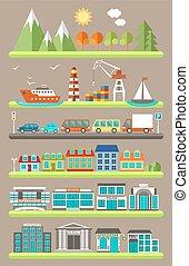 plano, ciudad, infographics