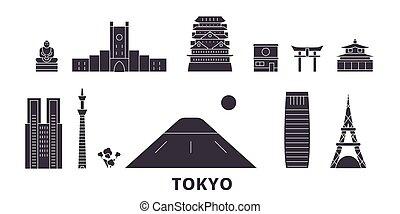 plano, ciudad, viaje, tokio, landmarks., símbolo, contorno,...