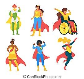 plano, colección, vector, ilustración, hembra, superheroes