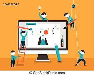 plano, colectivo, concepto, creación, diseño