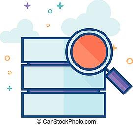 plano, color, icono, -, base de datos, búsqueda