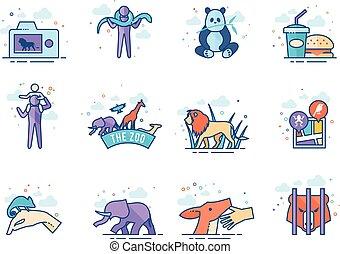 plano, color, iconos, -