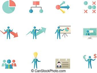 plano, color, iconos, -, empresa / negocio