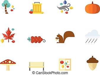 plano, color, iconos, -, otoño