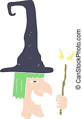 plano, color, ilustración, bruja, reír, caricatura