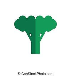 plano, color, vector, vegetal, bróculi, icono