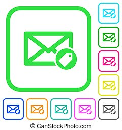 plano, coloreado, iconos, correo, tagging, vívido