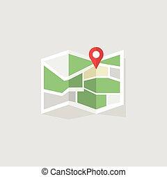plano, coloreado, mapa, concept., ubicación, icono