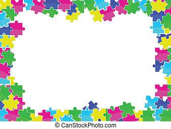 plano, coloreado, marco, dispersado, rompecabezas, juguetes