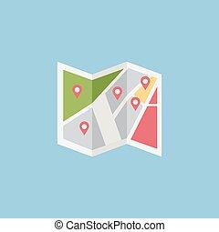 plano, coloreado, vector, ubicación, icono, diseño