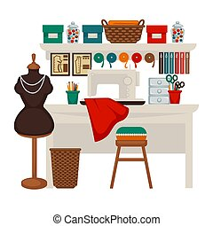 plano, colorido, taller, ilustración, vector, estudio, lugar de trabajo, blanco