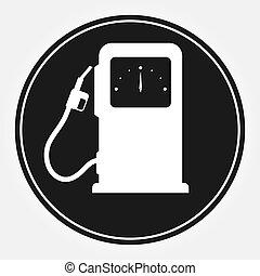 plano, columna, coches, relleno, fuel., icono